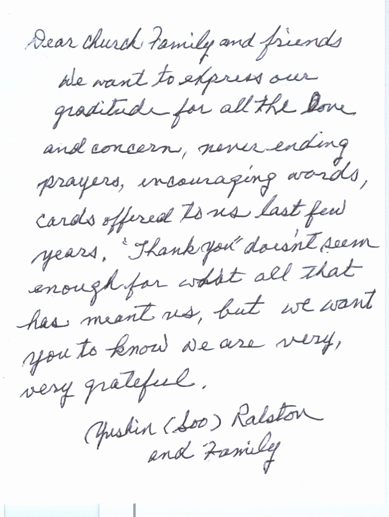 Thank You Received from Ralston Family - Parker Ford Church