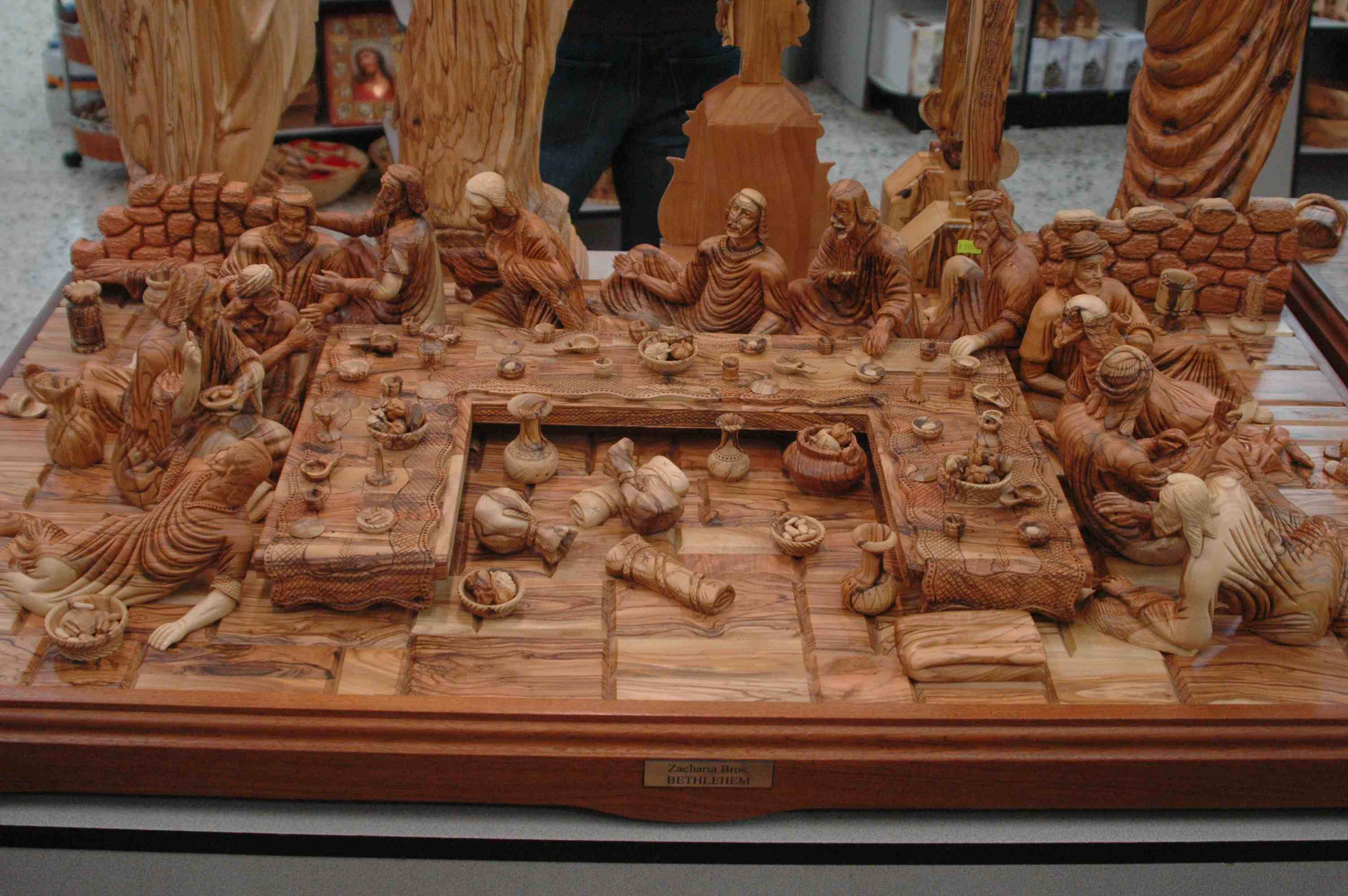 Large d hand carved olive wood statue wood last supper